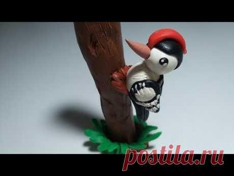 🌳 Как слепить Дятла из мастики или пластилина (Cake/Fondant Topper - Woodpecker). - YouTube