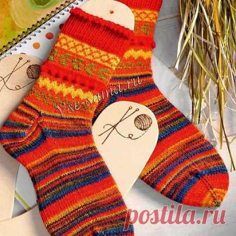 Жаккардовые носки с шишечками Жаккардовые носки с шишечками. Описание вязания спицами.