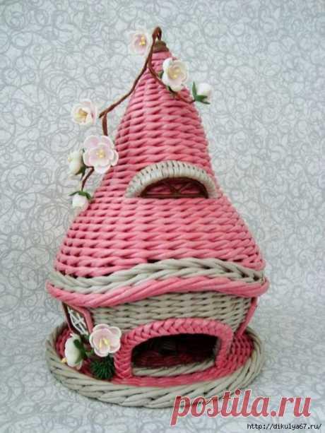 Чайные домики из газетных трубочек. Великолепные идеи