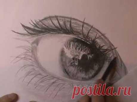 Рисуем глаз карандашом 2 - YouTube