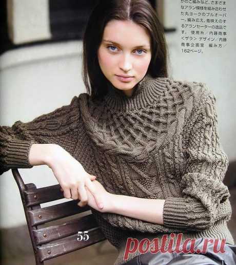 Женский свитер с круглой кокеткой..
