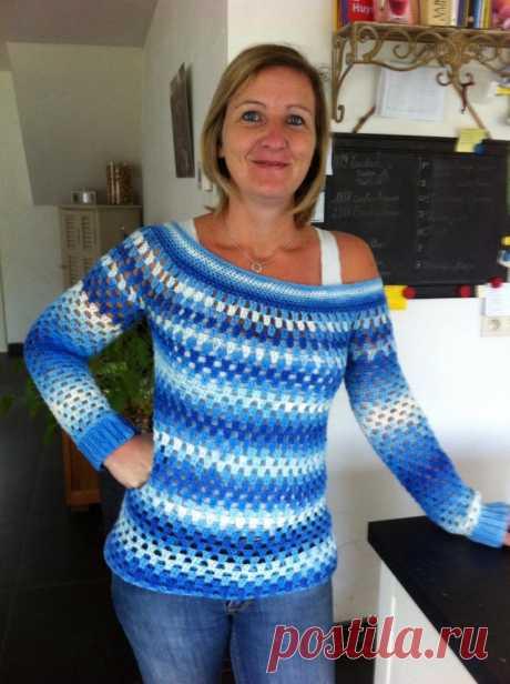 Gehaakte granny stripe trui - Breiclub.nl