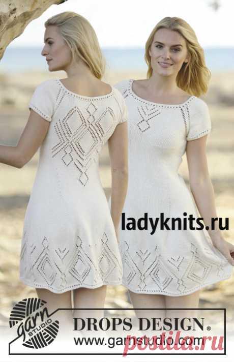 Платье спицами с ажурной спиной Summer Feeling («Летнее ощущение») от Дропс