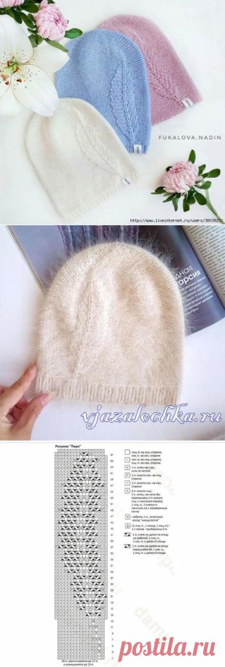 Простая, но эффектная шапочка бини с узором «перышко»