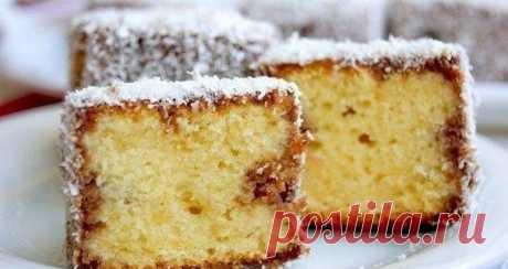 Пирожное с кокосовой стружкой