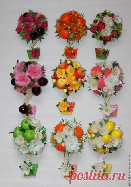 Магниты-топиарии с фруктами, сизалем и текстильными цветами – купить в интернет-магазине на Ярмарке Мастеров с доставкой - BVGIFRU | Санкт-Петербург