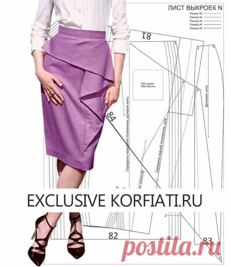 Выкройка юбки с воланом для скачивания от Анастасии Корфиати Выкройка юбки с воланом для скачивания. Изящный силуэт и эффектно выложенный волан – о этой юбке можно не только мечтать! Сшейте юбку самостоятельно.