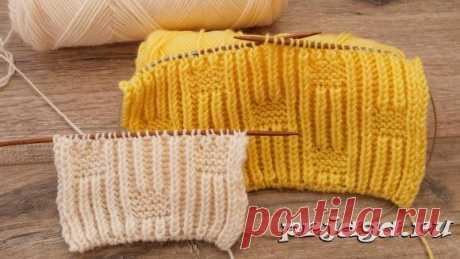 Двухсторонний узор для шарфа из петель бриошь спицами
