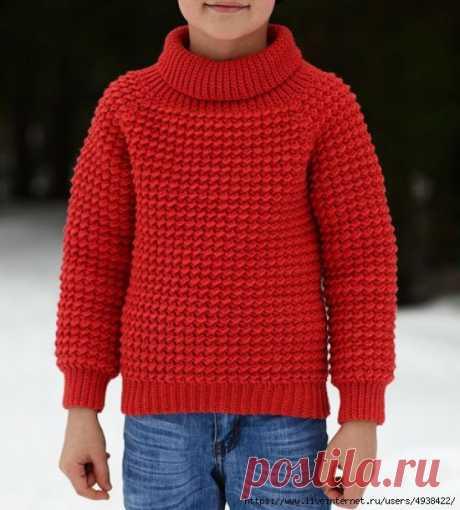 Детский свитер крючком (реглан сверху).