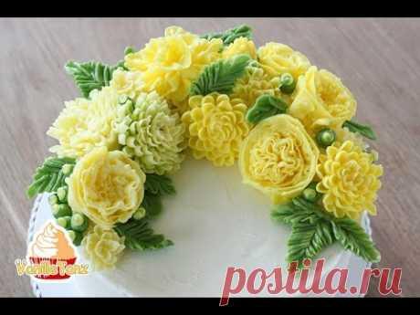 Торт с георгинами и английскими розами из корейского масляного крема.