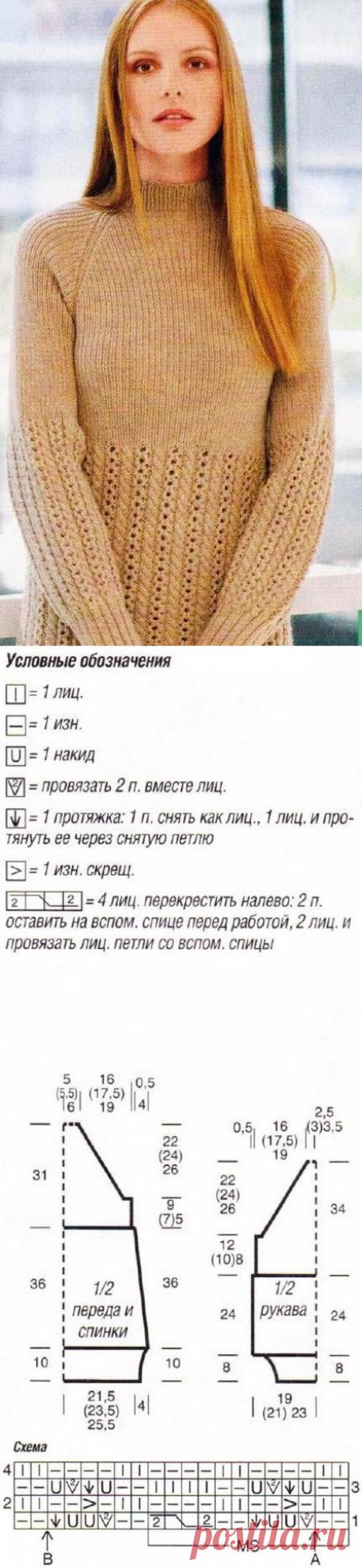 Облегающая удобная туника на кокетке вязанная спицами | Блог elisheva.ru