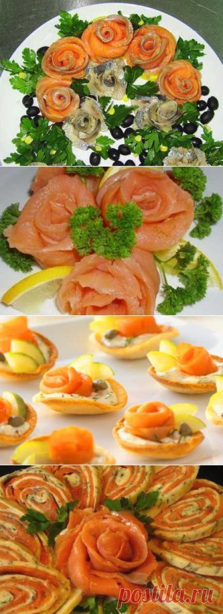 Как сделать розочки из красной рыбы (семги и лосося)