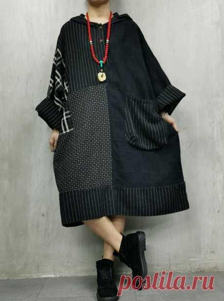 Women Oversized dress Retro Dress Cotton linen Hooded Dress   Etsy