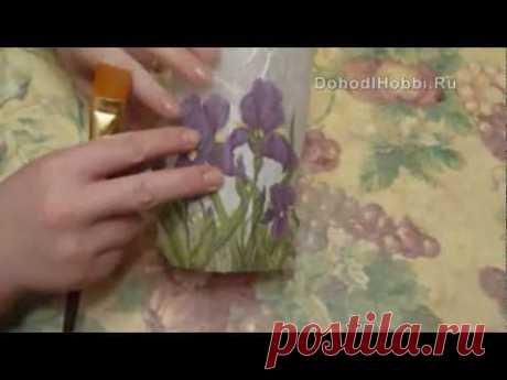 ДЕКУПАЖ НА СТЕКЛЕ. Декор вазы Декупаж на стекле. StudiaHandMade.Ru