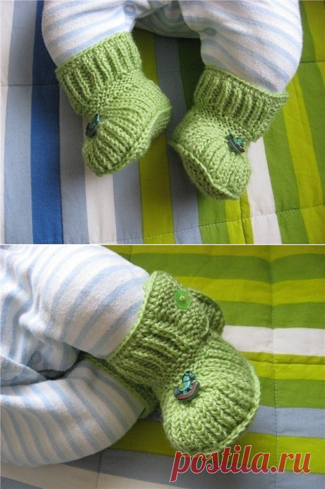 Bootees - boots on small buttons. Description of knitting