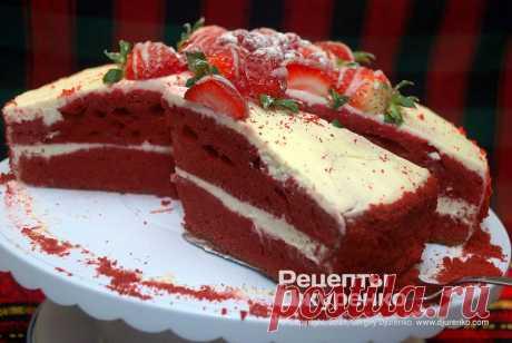 Торт Красный бархат. Пошаговый рецепт Сергея Джуренко Торт Красный бархат - самый красивый и известный десерт. Многослойный бисквит красного цвета пропитанный сырным кремом и украшенный глазурью с фруктами.