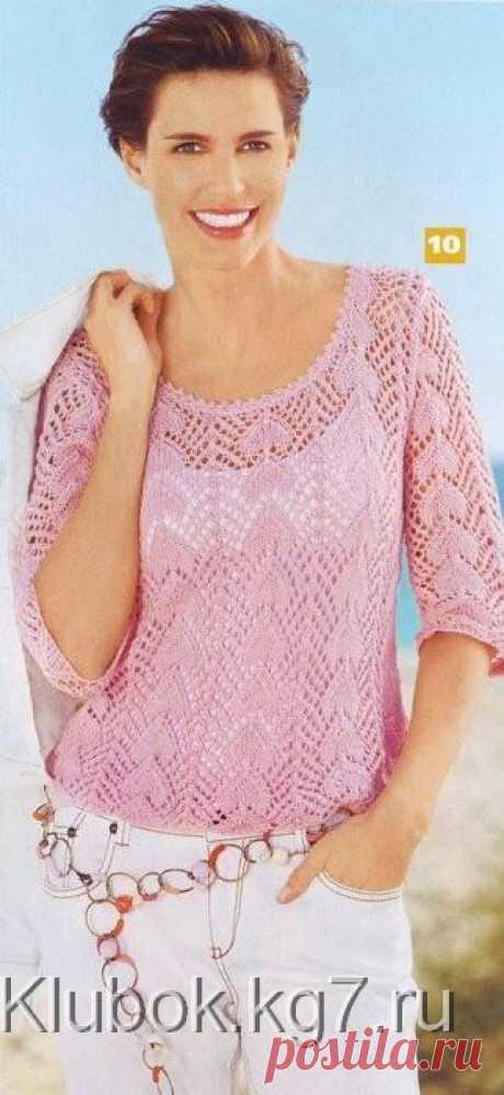 Розовый ажурный пуловер | Клубок