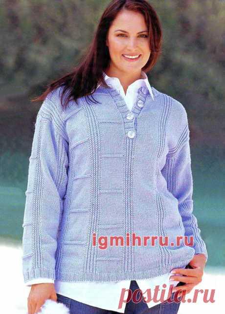 Для полных дам. Голубой теплый пуловер с вырезом «поло». Вязание спицами