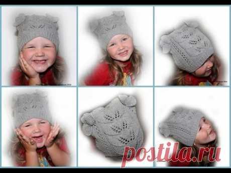 "Hat \""Autumn leaflets\"" - knitting by spokes #счастливая_рукодельница"