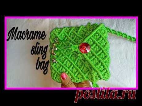 Небольшая сумочка с длинным ремешком, макраме