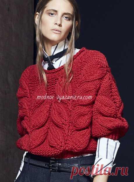 Джемпера и пуловеры с ветками листьев спицами - Knitting.Klubok.ru.com