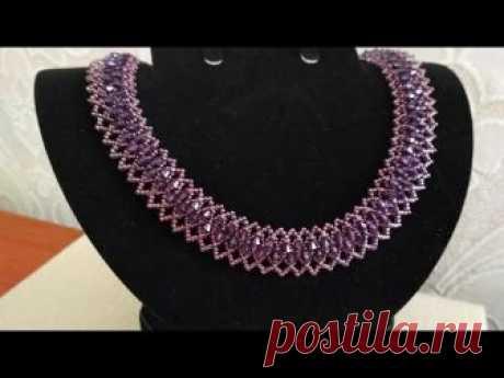 Beads necklace-tutorial. Колье из бисера и биконусов на основе бисерной сетки. МК
