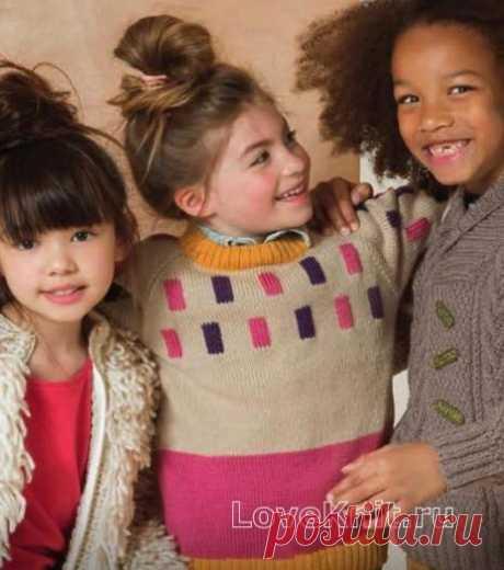 Детский пуловер с цветными вставками схема » Люблю Вязать