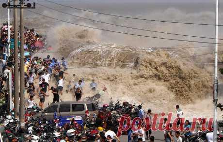 Приливная волна: против течения В нескольких местах на Земле местные ландшафты и приливы становятся причиной феномена, который называется приливной волной. Она формируется, когда огромные массы воды попадают в узкое русло реки. 9-метровая приливная волна на реке Цяньтан в Китае признана уникальным природным явлением...
