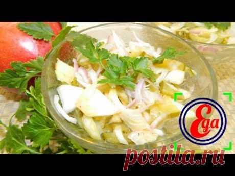 Легкий рецепт ароматного картофельного салата с огурцом и яблоком