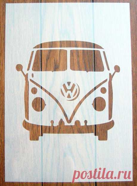 VW Camper Van Front Stencil Mask Reusable Polypropylene Sheet
