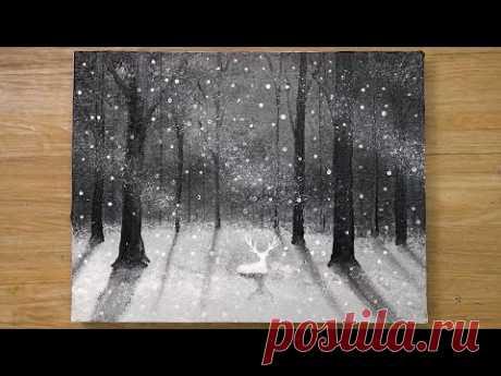 Олень в снежный день / Техника акриловой живописи № 471