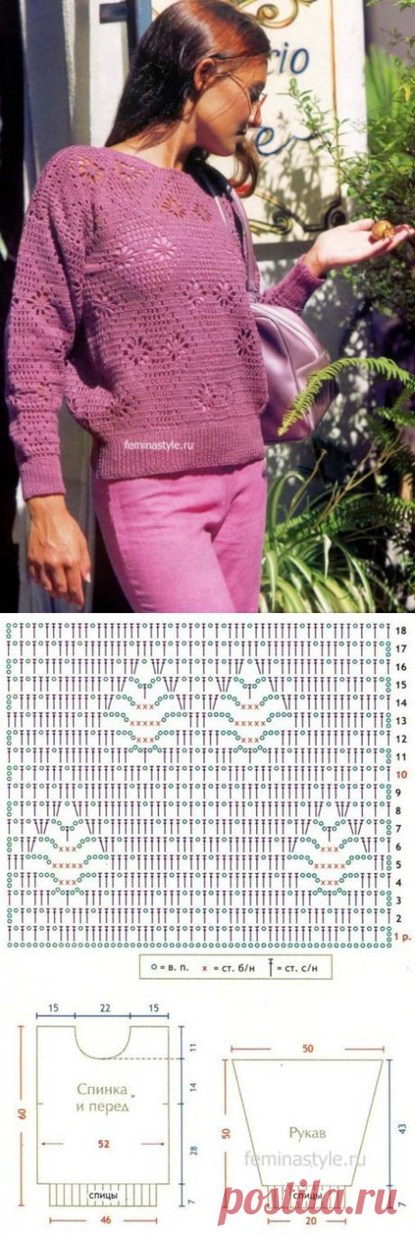 Пуловер с фантазийным узором связанный крючком..