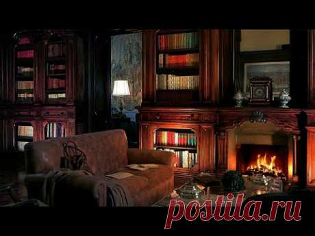 Old Library Room with Fireplace - Library Ambience at Night, Library asmr