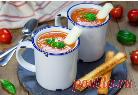 Томатный суп  ИНГРЕДИЕНТЫ:  (на 4 порции)  2 столовые ложки растительного масла 1/2 большой луковицы, мелко нарезать 1-2 зубчика чеснока, измельчить 1 столовая ложка муки 1 ч.л. мелко порезанного базилика (можно сушеный) 1 ч.л. сушеного тимьяна 400 мл. куриного бульона вода (для постного супа) 800 г. консервированных помидоров в томатном соусе, измельчить 1 ч.л. сахара 1/4 чайной ложки соли 1/4 чайной ложки черного молотого перца
