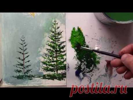 Как нарисовать ЕЛИ - очень подробно про рисование ЕЛОЧЕК! Валерий Рыбаков