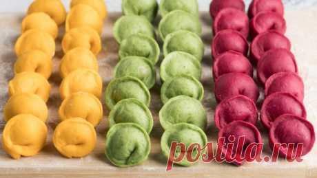 Разноцветные пельмени без искусственных красителей