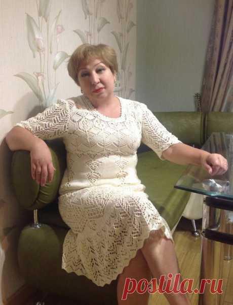 Роскошное ажурное платье спицами. Автор - Желала. Схемы