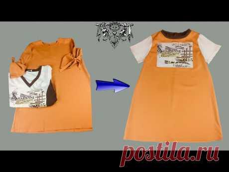 Перешиваем тунику в стильное детское платье   Детская одежда