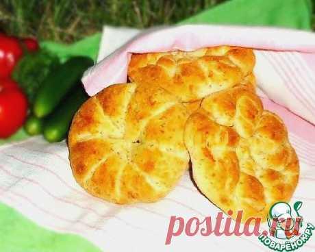 Булочки-лепёшки с сыром, луком и зеленью - кулинарный рецепт