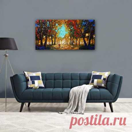 Art on canvas bright sky blue orange ochre deep browns | Etsy
