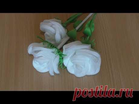 Как Сделать Красивую Розу С Стеблем из Ватных Дисков