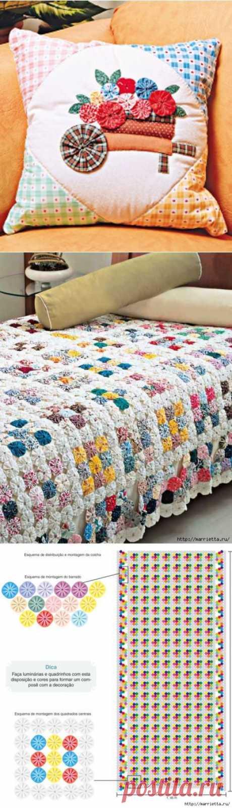 Цветочки ЙО-ЙО для покрывала и подушки.