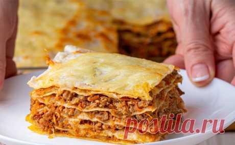 Ленивая лазанья без траты времени на тесто: используем фарш, лаваш и грибы