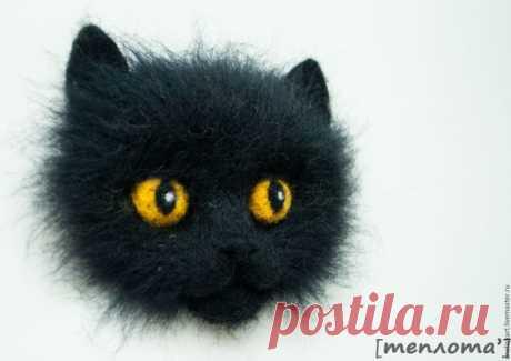 """Купить Брошь валяная """"Уголёк"""" - брошь, котоброшка, котоброшь, черный кот, брошка"""