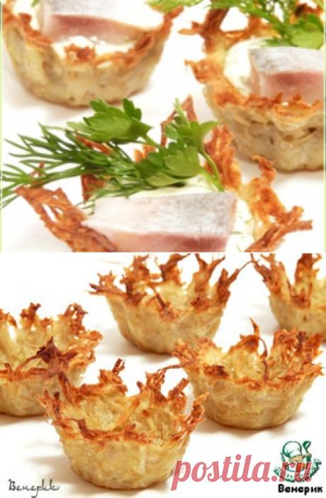 Ажурные картофельные тарталетки – кулинарный рецепт