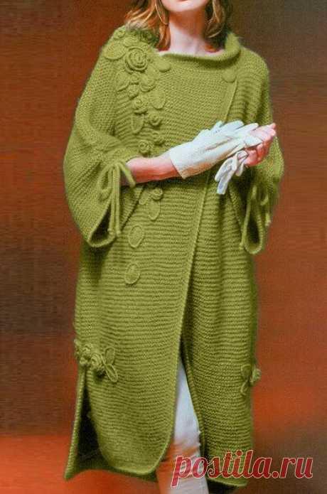 Простой способ связать роскошное пальто спицами | Идеи рукоделия | Яндекс Дзен