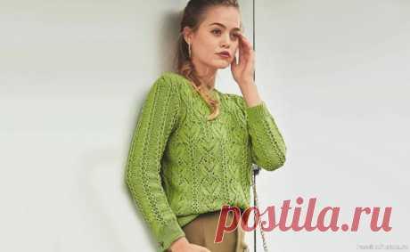Зеленый ажурный пуловер. Схема и описание | Вязание для женщин спицами. Схемы вязания спицами Яблочно-зеленый пуловер хорош не только эластичной хлопчатобумажной пряжей, но и затейливой комбинацией из «листьев» и ажурных полос.Ажурный пуловер для женщин, схема с описанием вязания спицами.Размеры:36/38 (40/42) 44/46Вам потребуется:пряжа (96% хлопка, 4% полиэстера; 160 м/50 г) - 400...