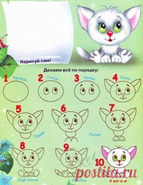 Уроки рисования: как нарисовать котенка, ежика, бабочку, гусеницу, пингвина, цыпленка - Поделки с детьми | Деткиподелки