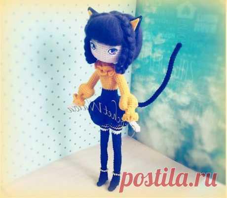 Амигуруми девушка кошка крючком с пошаговой схемой вязания