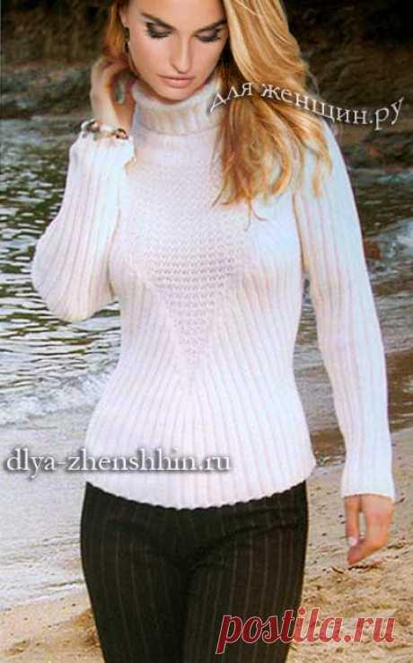 Белый вязаный свитер для женщин, описание и схемы вязания свитера спицами